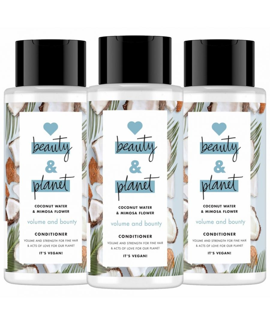 Image for Love Beauty & Planet Volume and Bounty Coconut Water & Mimosa Flower Conditioner 400ml (Pack of 3)