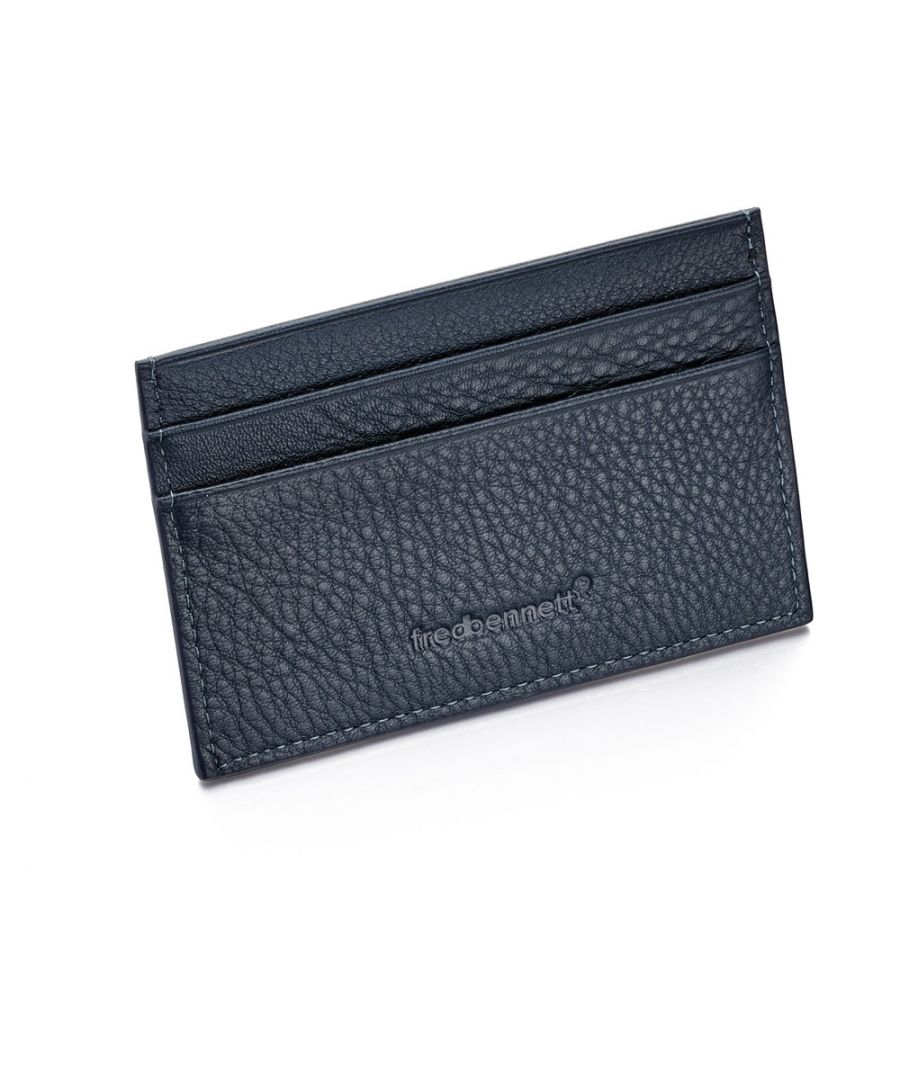 Image for Fred Bennett Navy Blue Leather Mens Cardholder Wallet and Gift Box