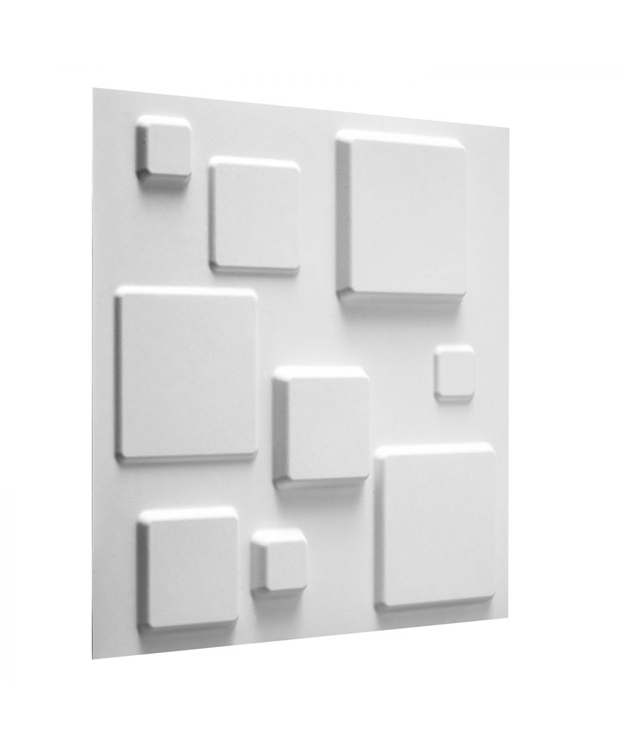 Image for W3DP0008 - Squares Eco Friendly 3D Wall Panels Decorative Tiles  - 50x50 cm - 12 Boards (for 3 sqm)