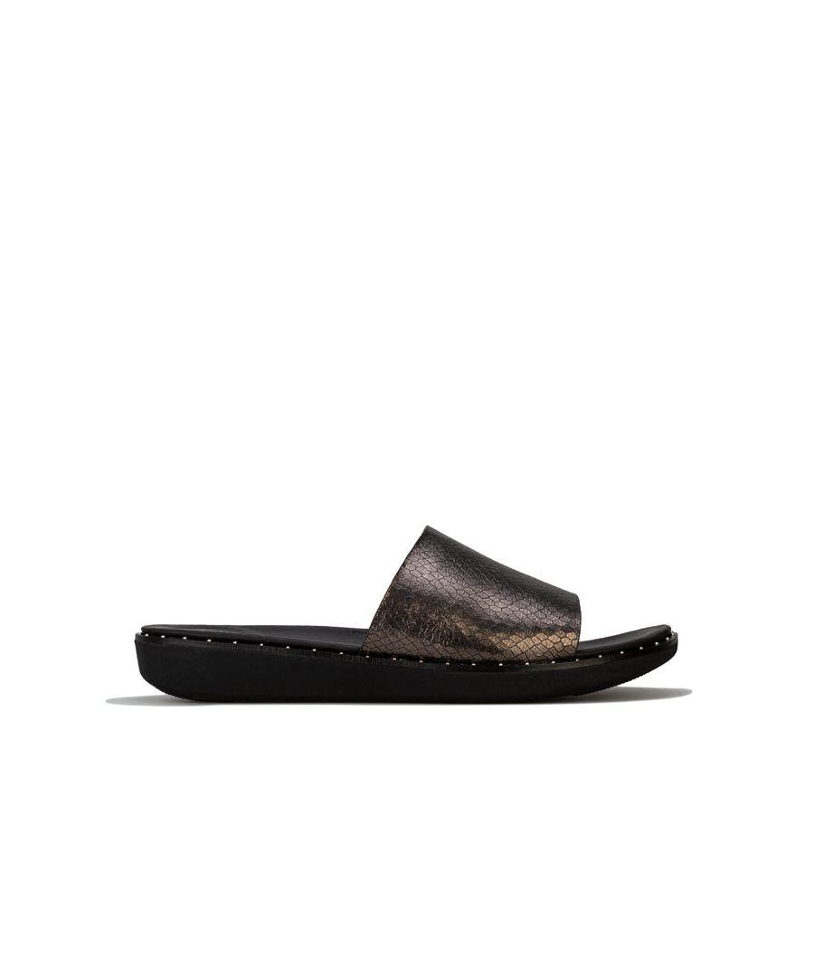 Image for Women's Fit Flop Sola Metallic Snake Slide Sandals in Black