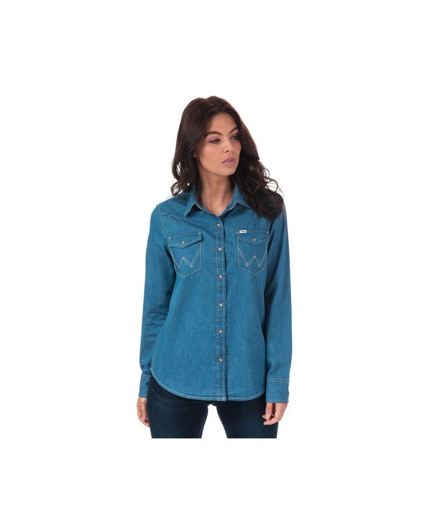 Image for Women's Wrangler Denim Western Shirt in Indigo