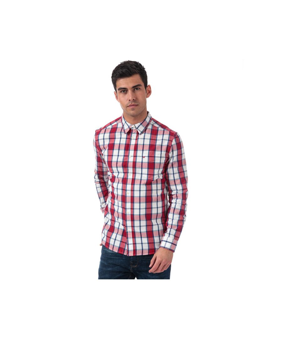 Image for Men's Wrangler 1 Pocket Checked Shirt in Red