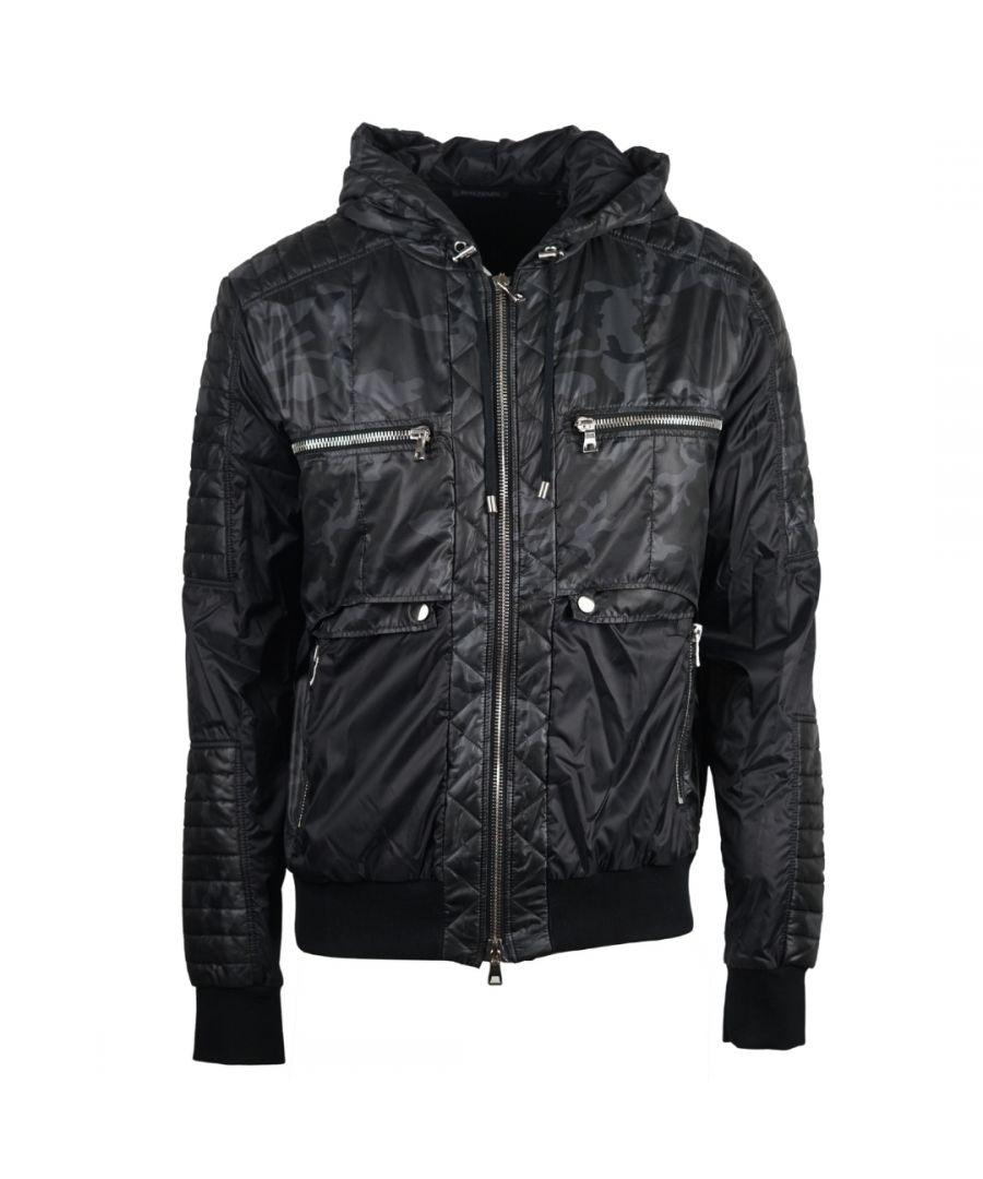 Image for Balmain Hooded Zip Biker Black Camo Jacket