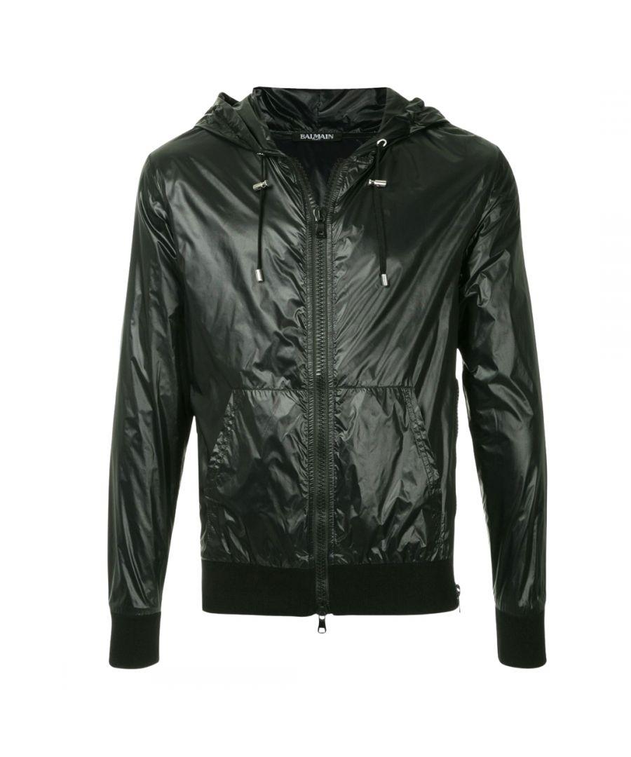 Image for Balmain Hooded Zip Black Jacket