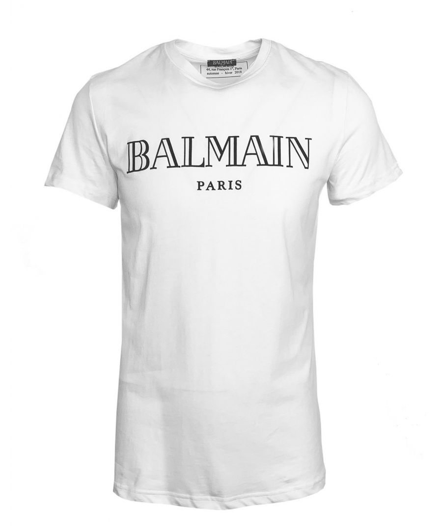 Image for Balmain Logo Print White T-Shirt