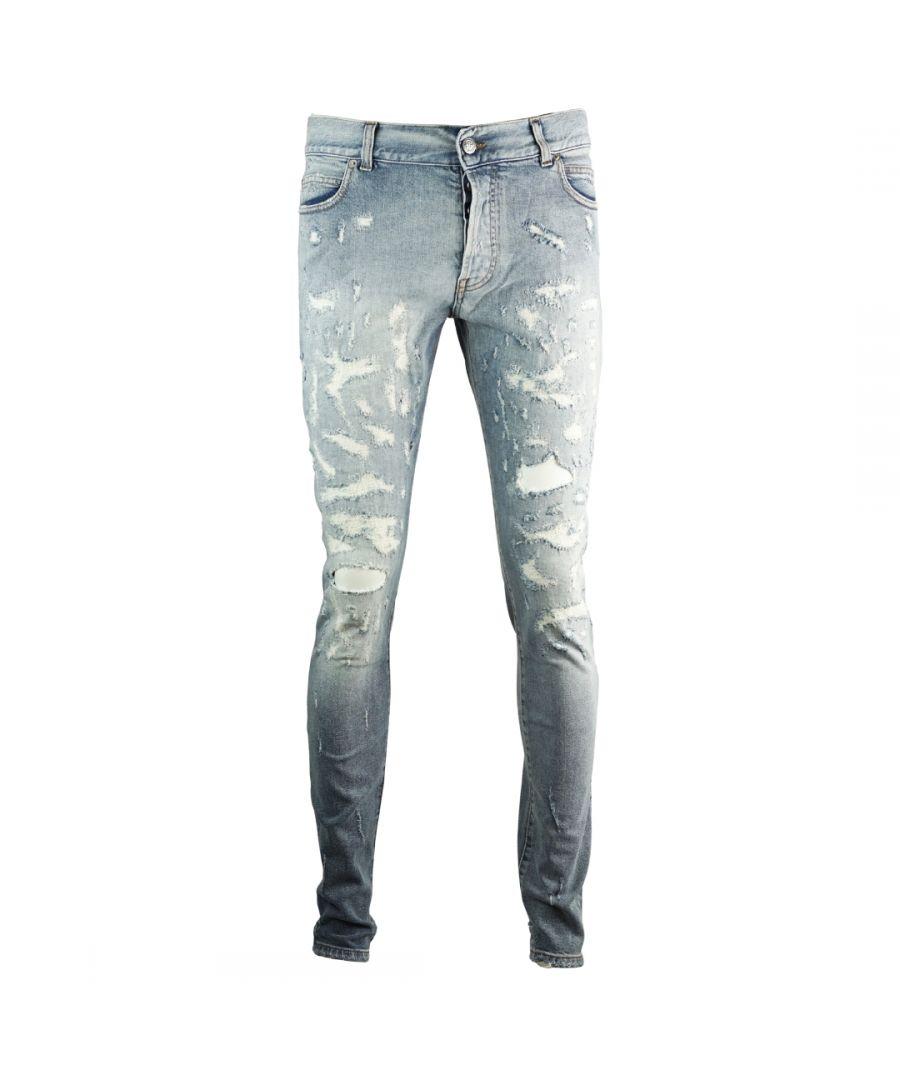 Image for Balmain Skinny Reinforced Destroyed Blue Jeans