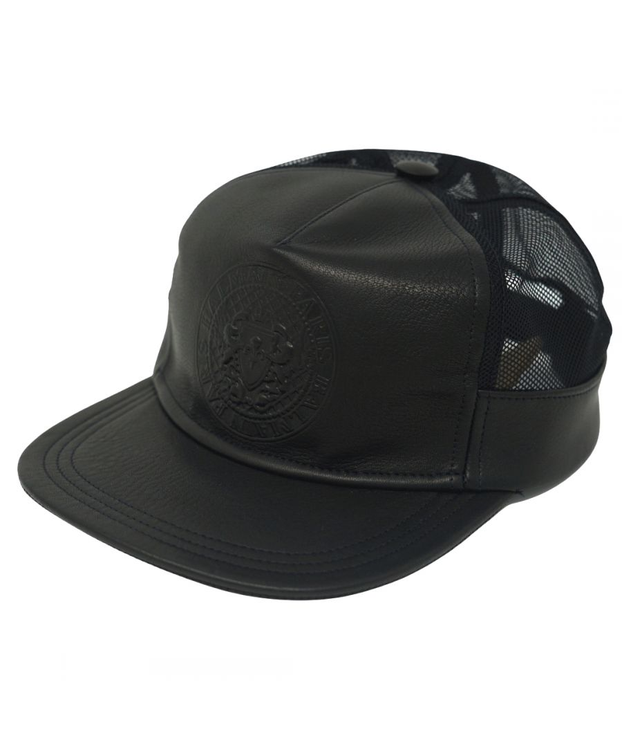 Image for Balmain Leather Logo Black Cap