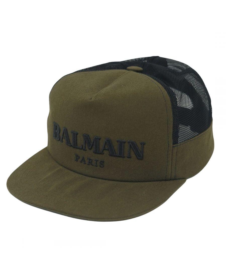 Image for Balmain Paris Logo Khaki Green Cap