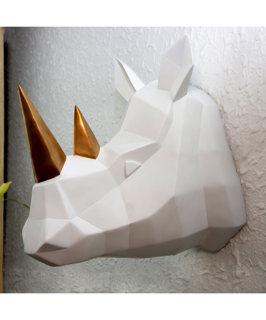 Image for Contemporary Geometric Faux Taxidermy White Gold Rhino Wall Hanger Wall Art Decorations Home Idea
