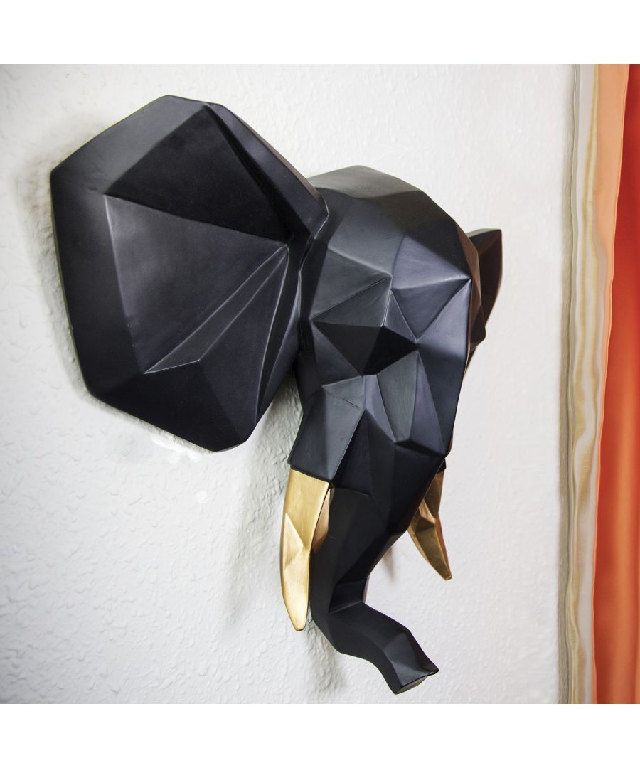 Image for Contemporary Faux Taxidermy Black Gold Geometric Elephant Wall Mount Sculpture Art Decorations Home Idea