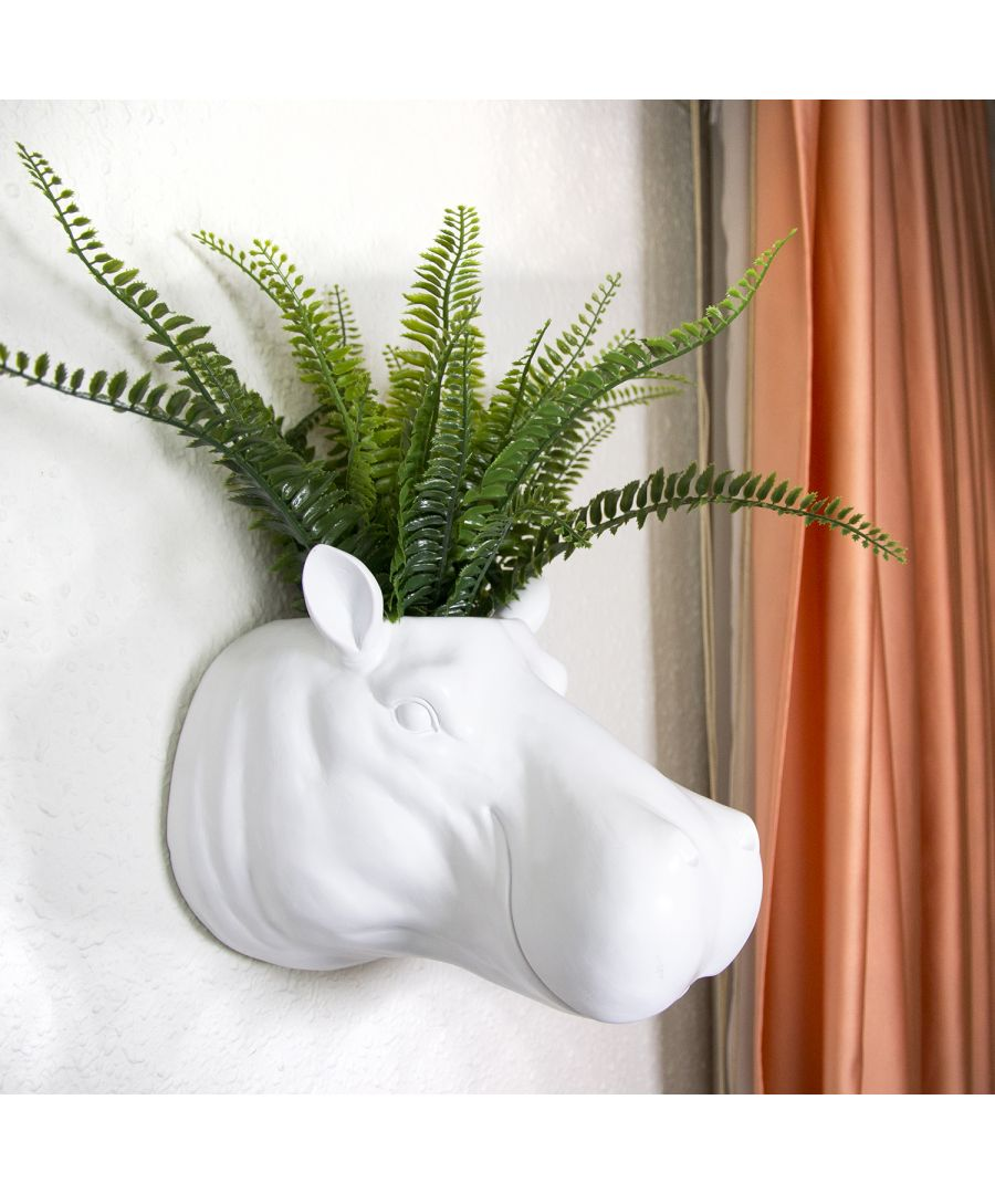 Image for 2 in 1 White Faux Taxidermy Hippo Flower Pot Wall Hanging Plant Pot Home Garden Decoration