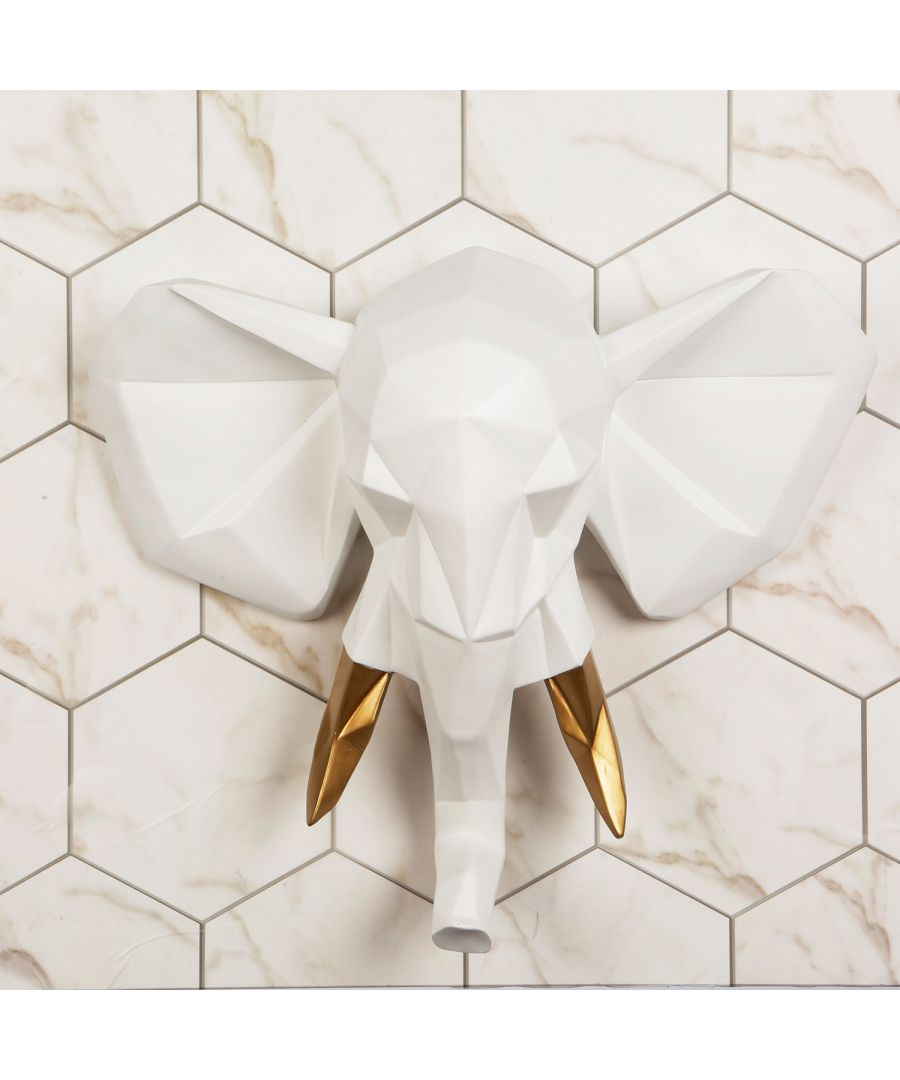 Image for Contemporary Faux Taxidermy White Gold Geometric Elephant Wall Mount Sculpture Art Decorations Home Idea