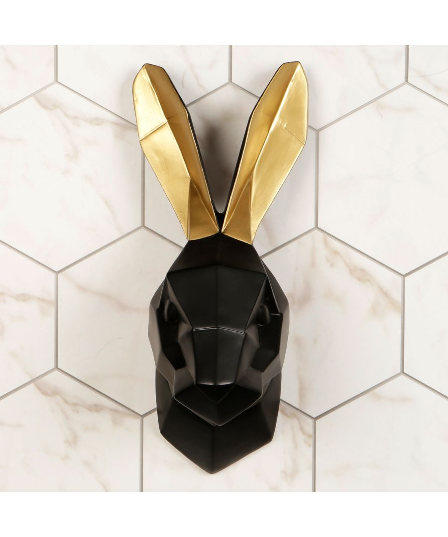 Image for Contemporary Taxidermy Black Rabbit Gold Ears Home or gifts idea