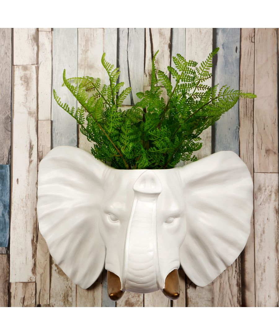 Image for 2 in 1 White Faux Taxidermy White Elephant Gold Tusks Pot Wall Hanging Plant Pot Home Garden Decoration
