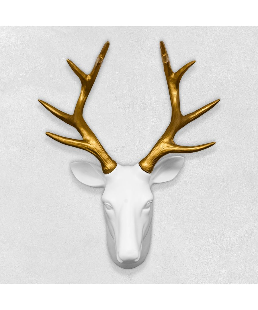 Image for Contemporary Taxidermy White Deer Head Gold Antlers Home or gifts idea