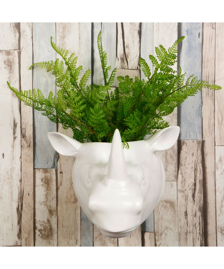 Image for 2 in 1 White Faux Taxidermy White Rhino Pot Wall Hanging Plant Pot Home Garden Decoration