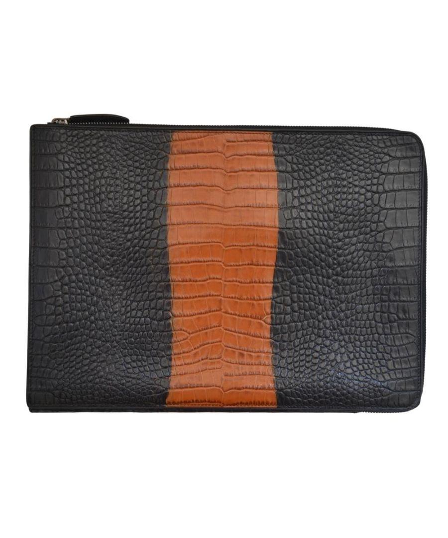 Image for Dries Van Noten Rust/Black Croc Print Leather Folio iPad Case