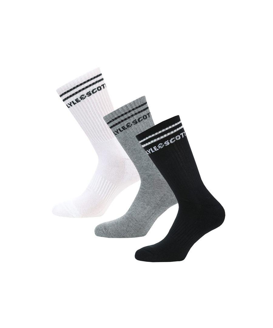 Image for Men's Lyle And Scott Walter 3 Pack Socks in Black Grey White