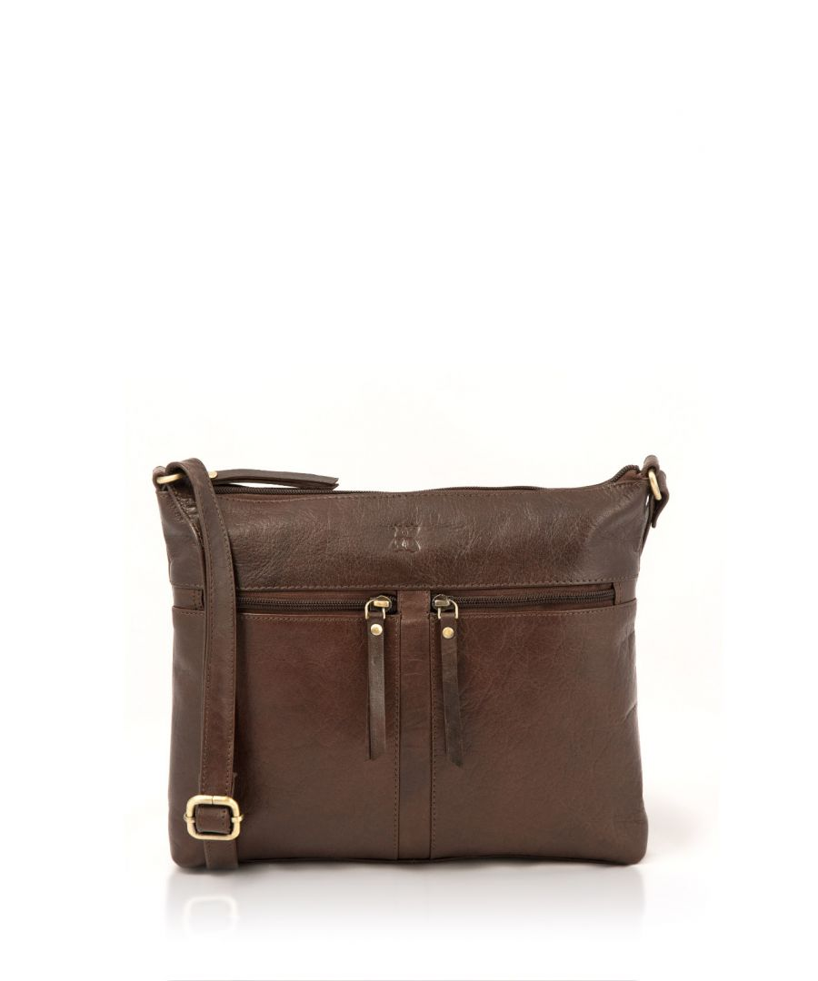 Image for Bowland Classic Leather Zipped Cross Body Bag in Brown