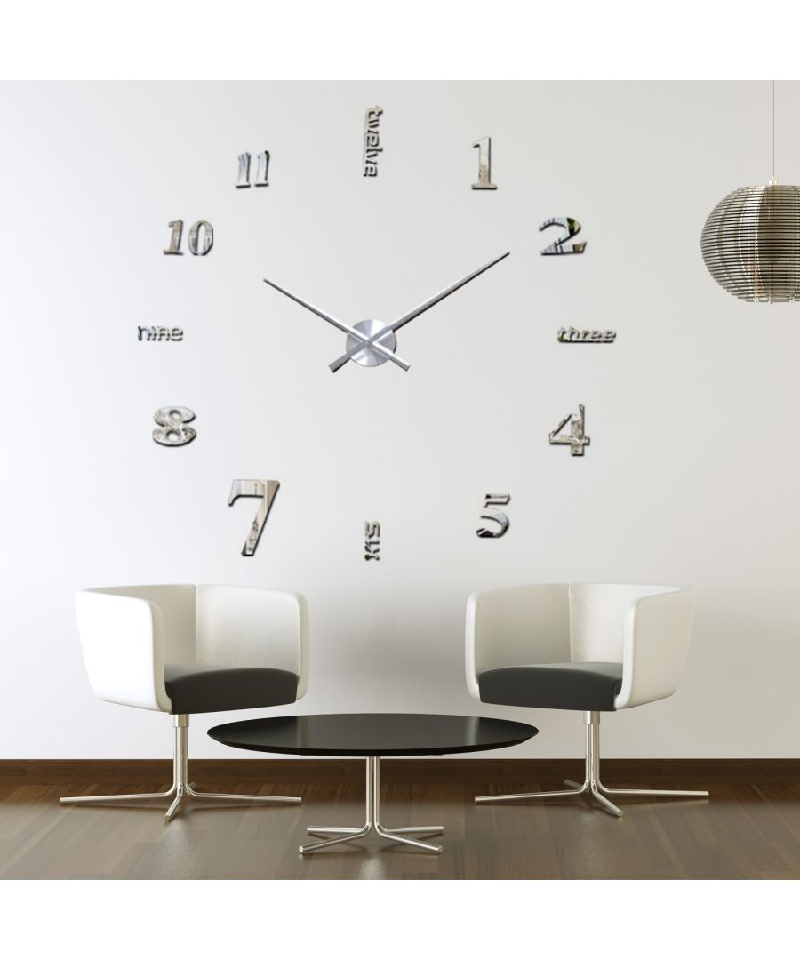 Image for Luxury DIY Wall Clock Silver Acrylic with English Numbers