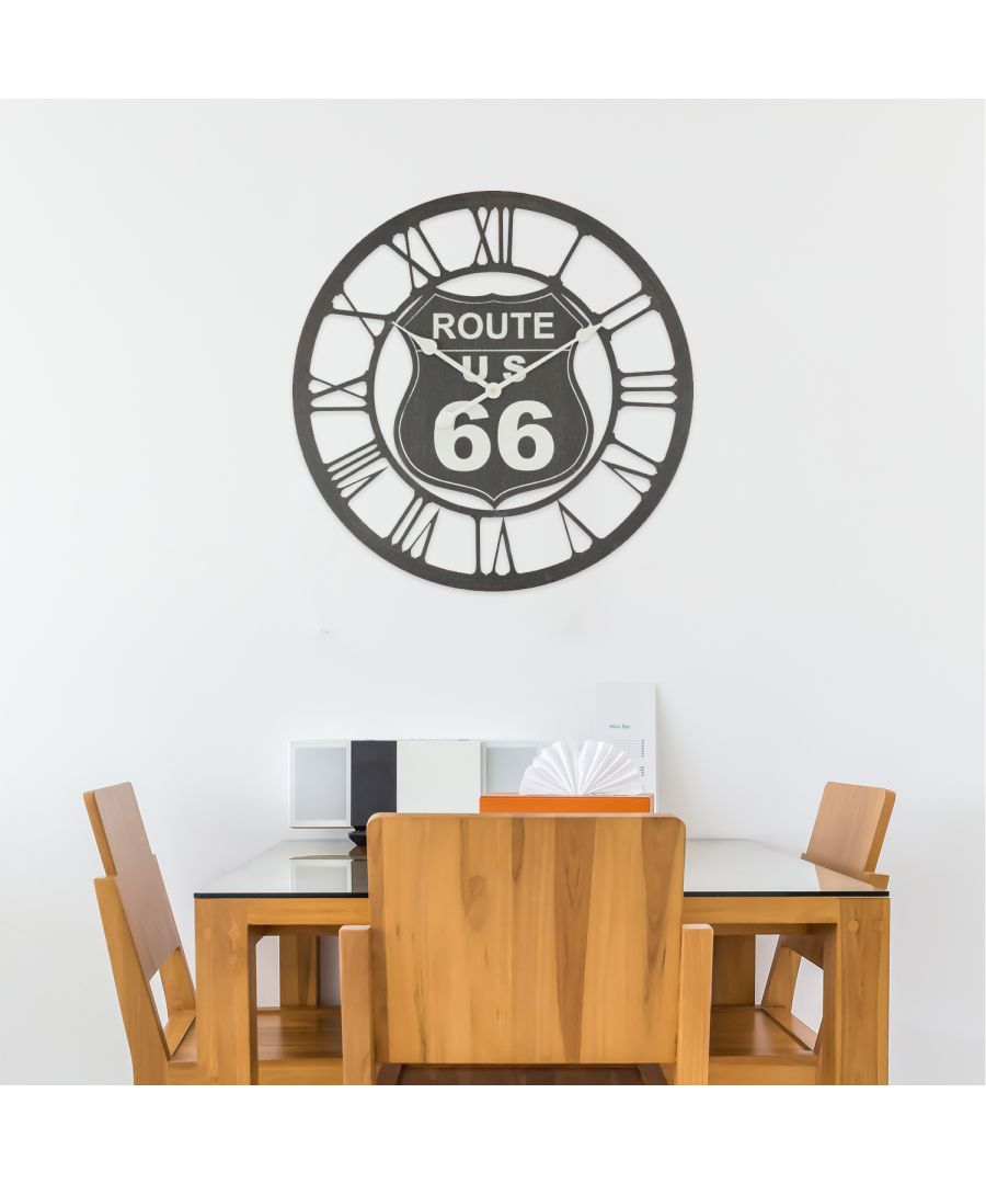 Image for Walplus Black Route 66 Iron Wall Clock (60cm Diameter)