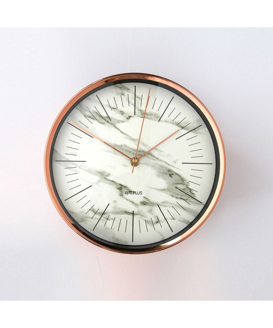 Image for Walplus Glory Time Marble effect Rose Gold Metal 26cm Wall Clock