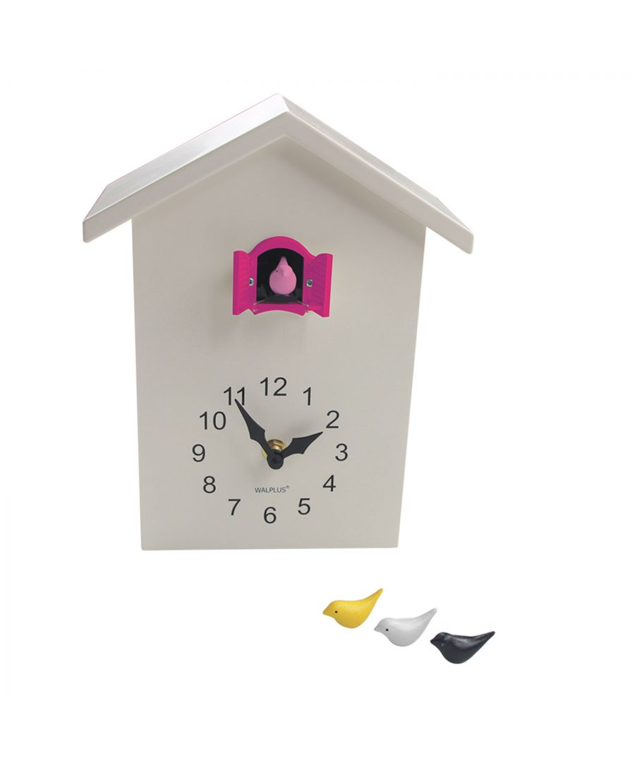 Image for WC2090T - Walplus White Cuckoo Table Clock - Pink Window