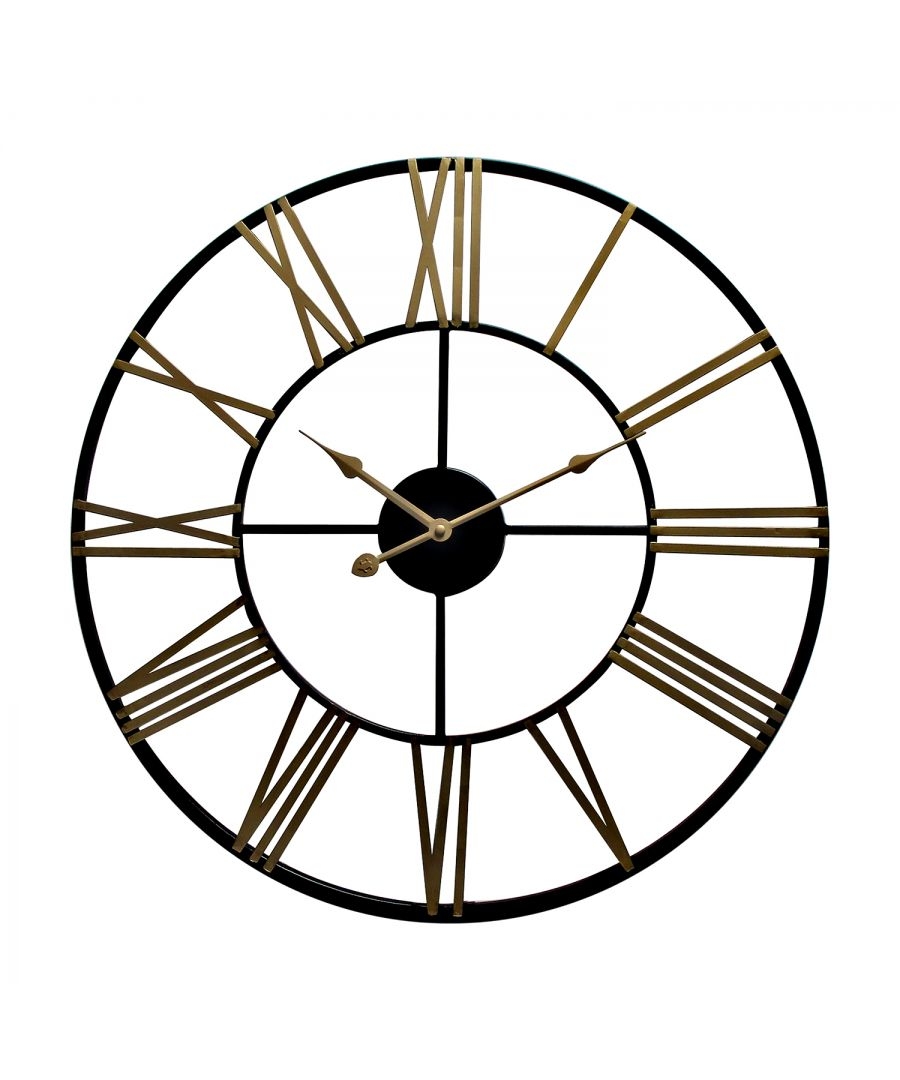 Image for WC2129 - Rustic Industrial Slim Black and Gold Iron Wall Clock 73cm
