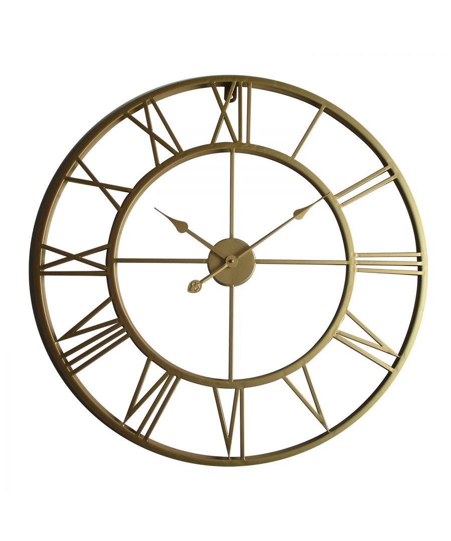 Image for WC2131 - Walplus Gold Metal Large Iron 76cm Wall Clock