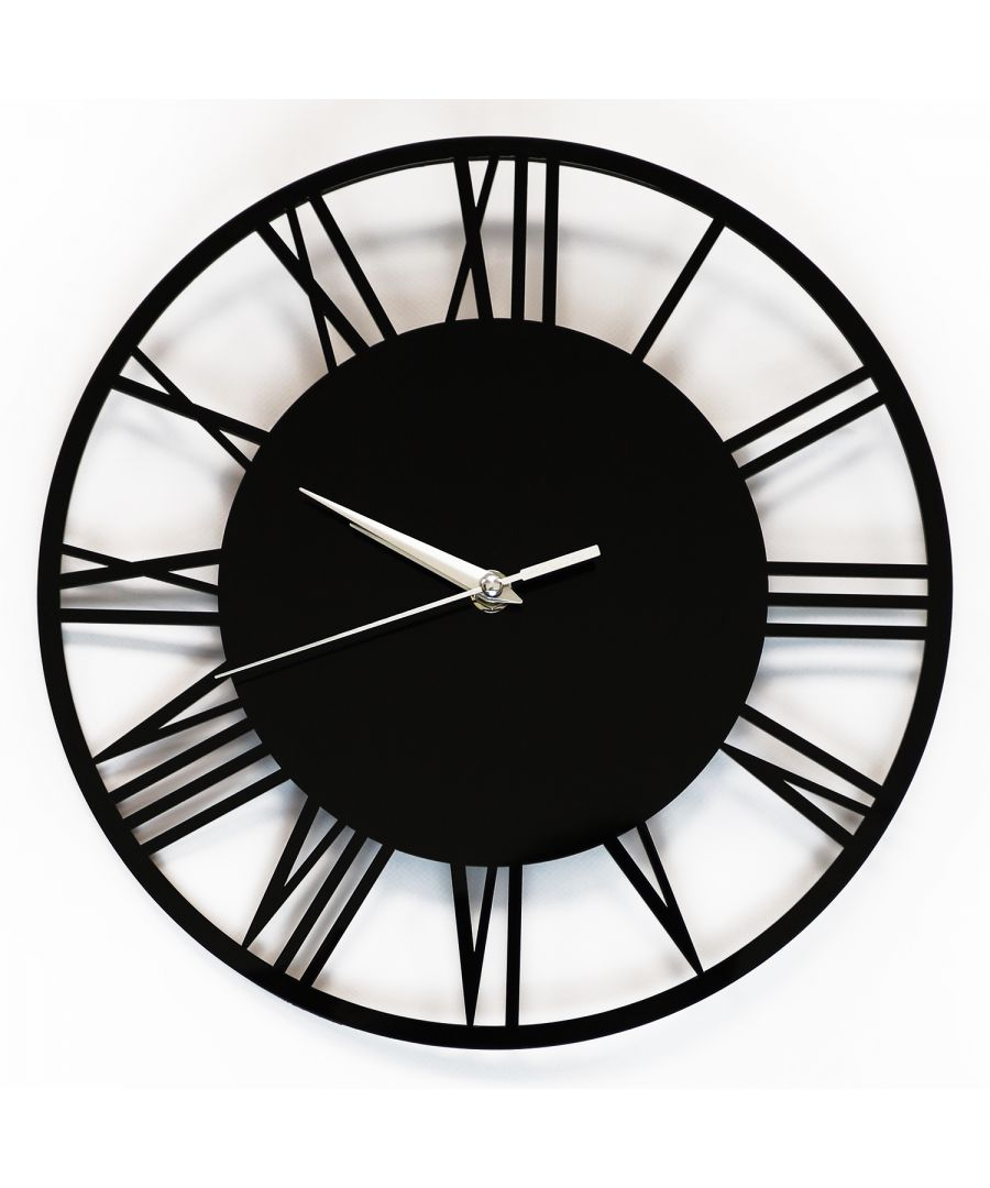 Image for WC2134 - Acrylic Gloss Roman Wall Clock Black 30cm
