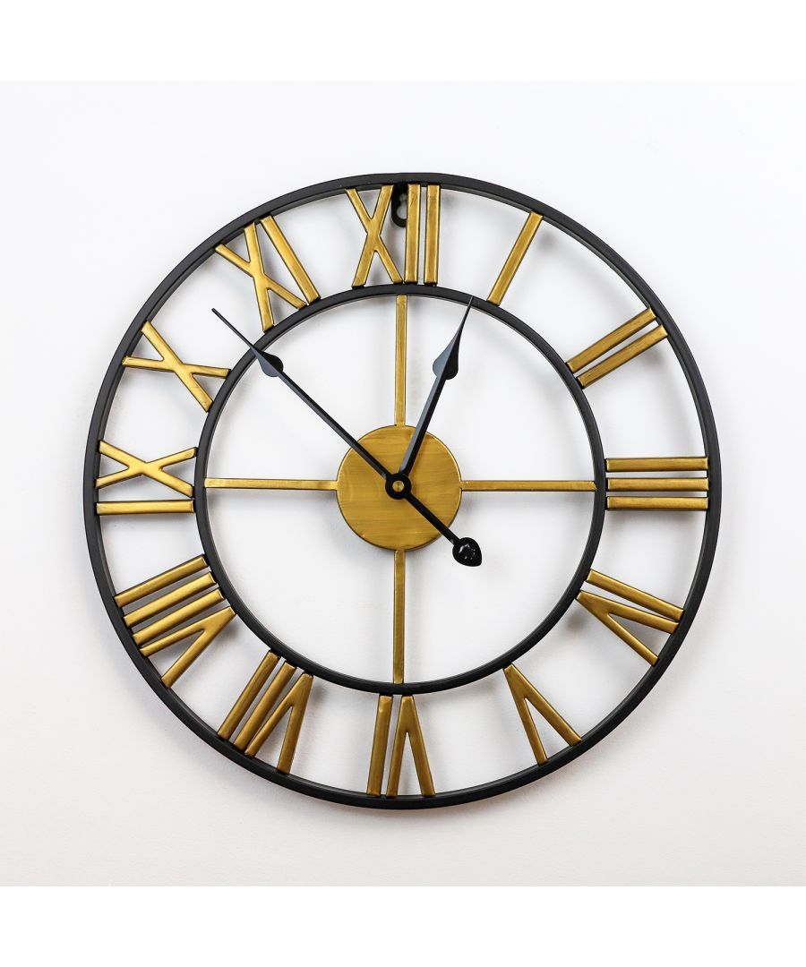 Image for WC2141 - Gatsby Industrial Black and Gold Iron Wall Clock - 40cm