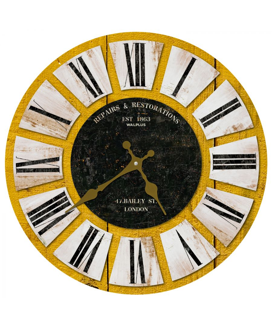 Image for Yellow Wooden Vintage Wall Clock, DIY Art, Kitchen Decorations, Bedroom, Home Design, House Décor, Living room ideas