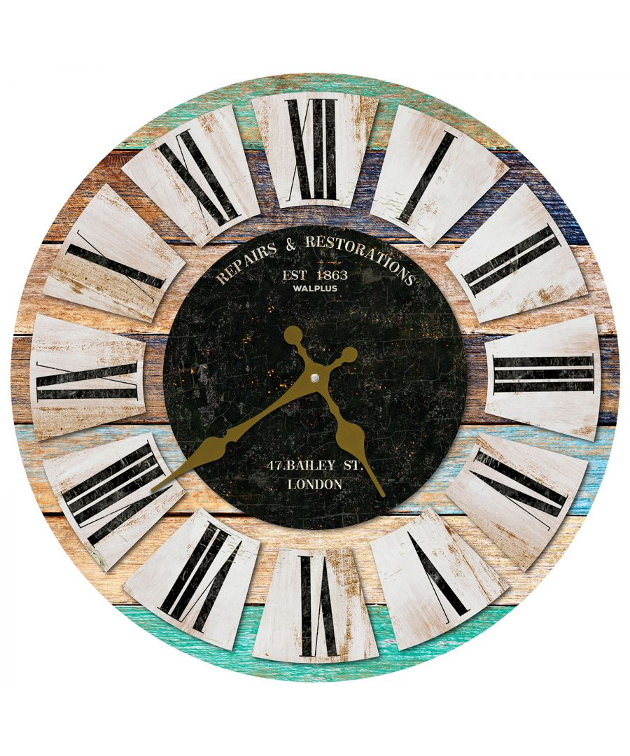 Image for Colouful Wooden Rustic Wall Clock, DIY Art, Kitchen Decorations, Bedroom, Home Design, House Décor, Living room ideas