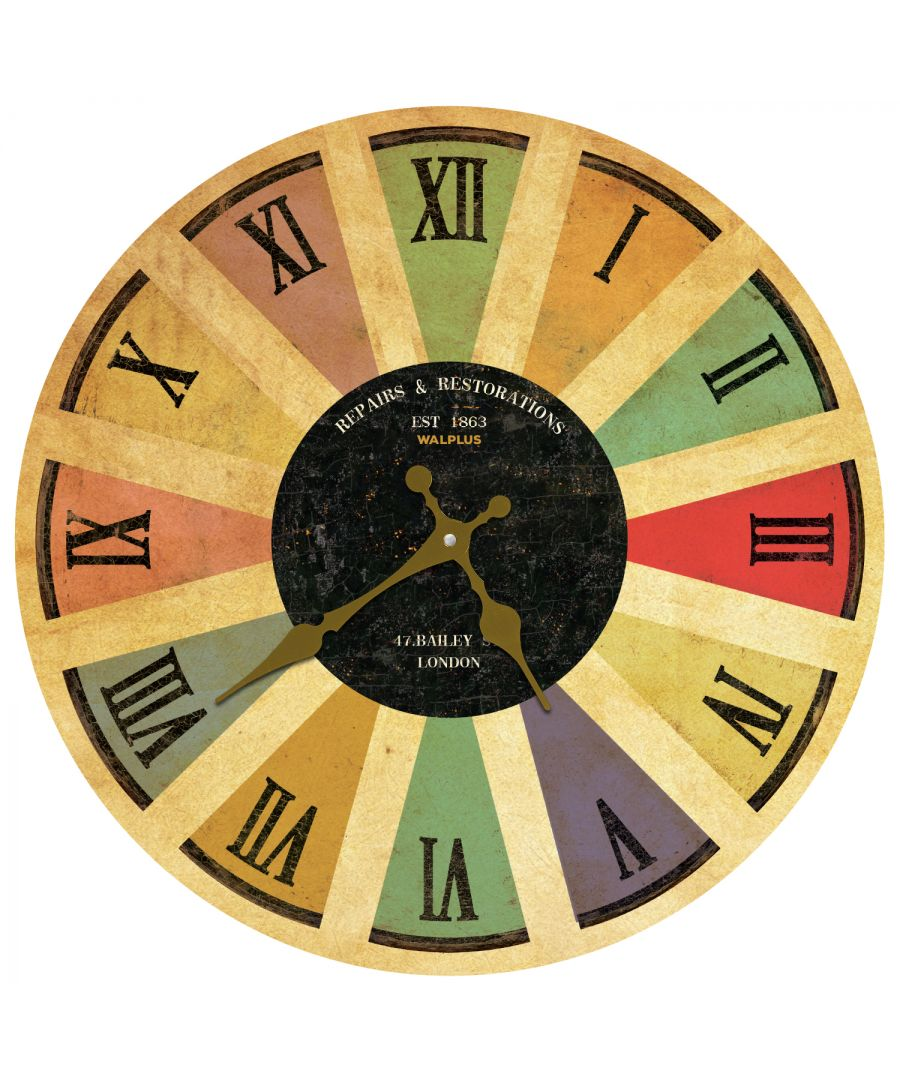 Image for Coloured Romans Numeral Wall Clock Black, DIY Art, Kitchen Decorations, Bedroom, Home Design, House Décor, Living room ideas