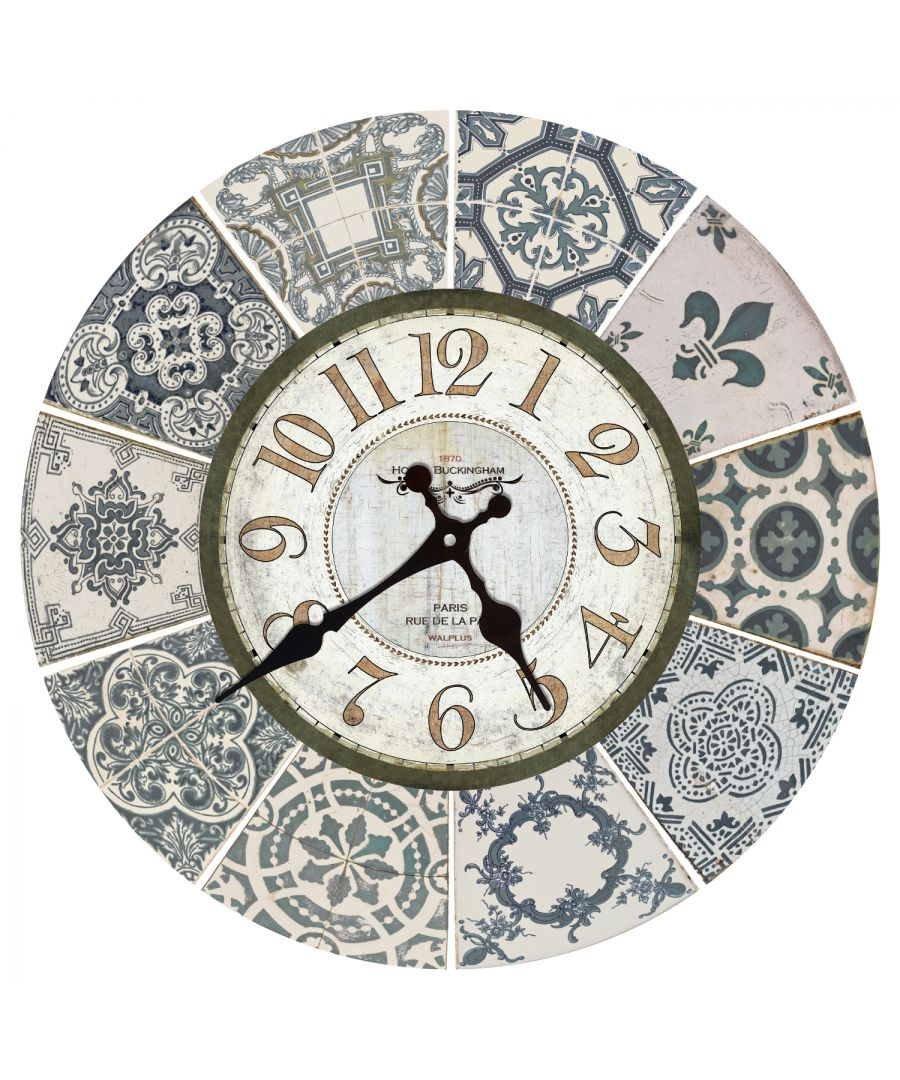 Image for Vintage Blue Azulejo Wall Clock, DIY Art, Kitchen Decorations, Bedroom, Home Design, House Décor, Living room ideas