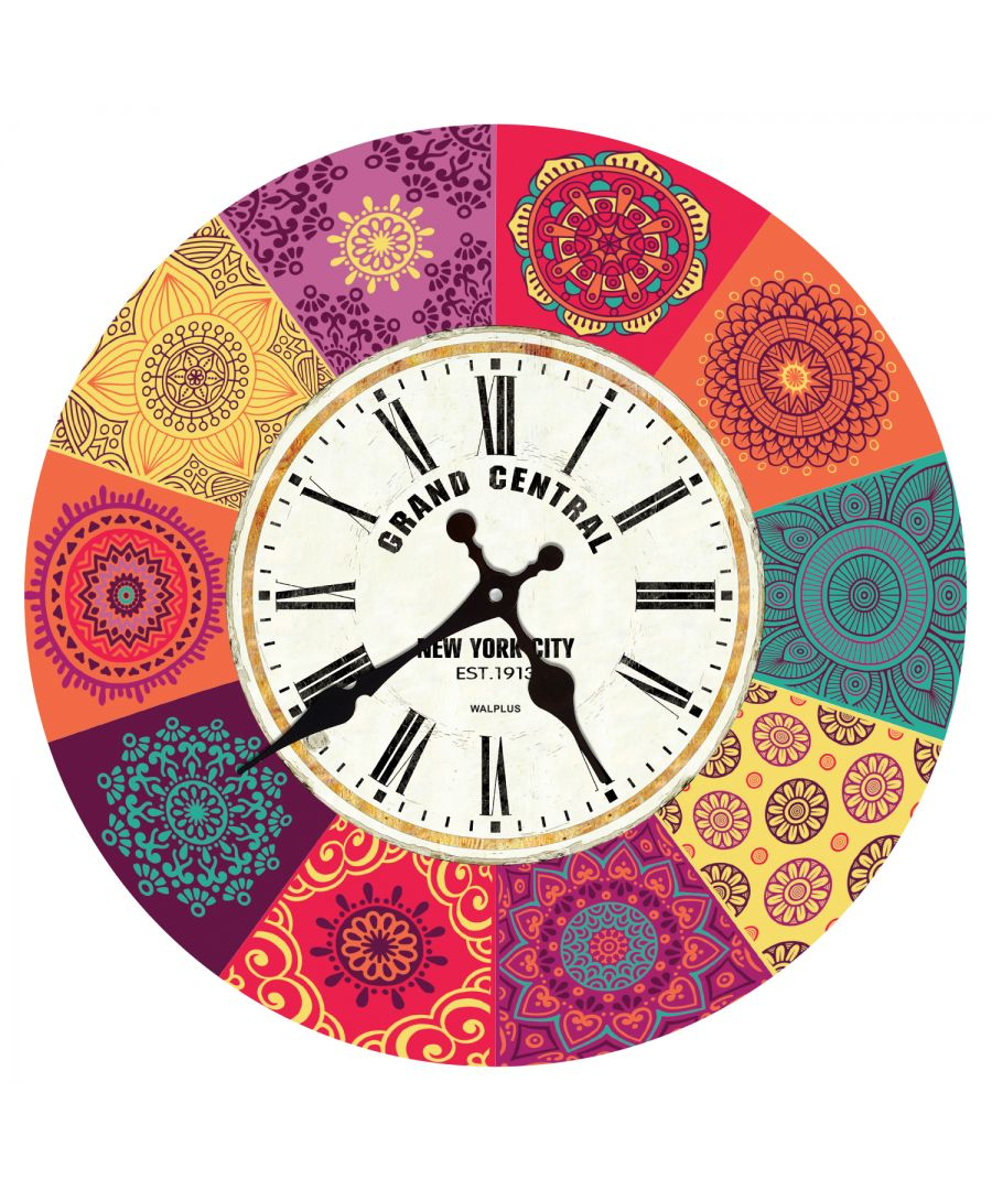 Image for Colourful Mandala Tiles Wall Clock, DIY Art, Kitchen Decorations, Bedroom, Home Design, House Décor, Living room ideas