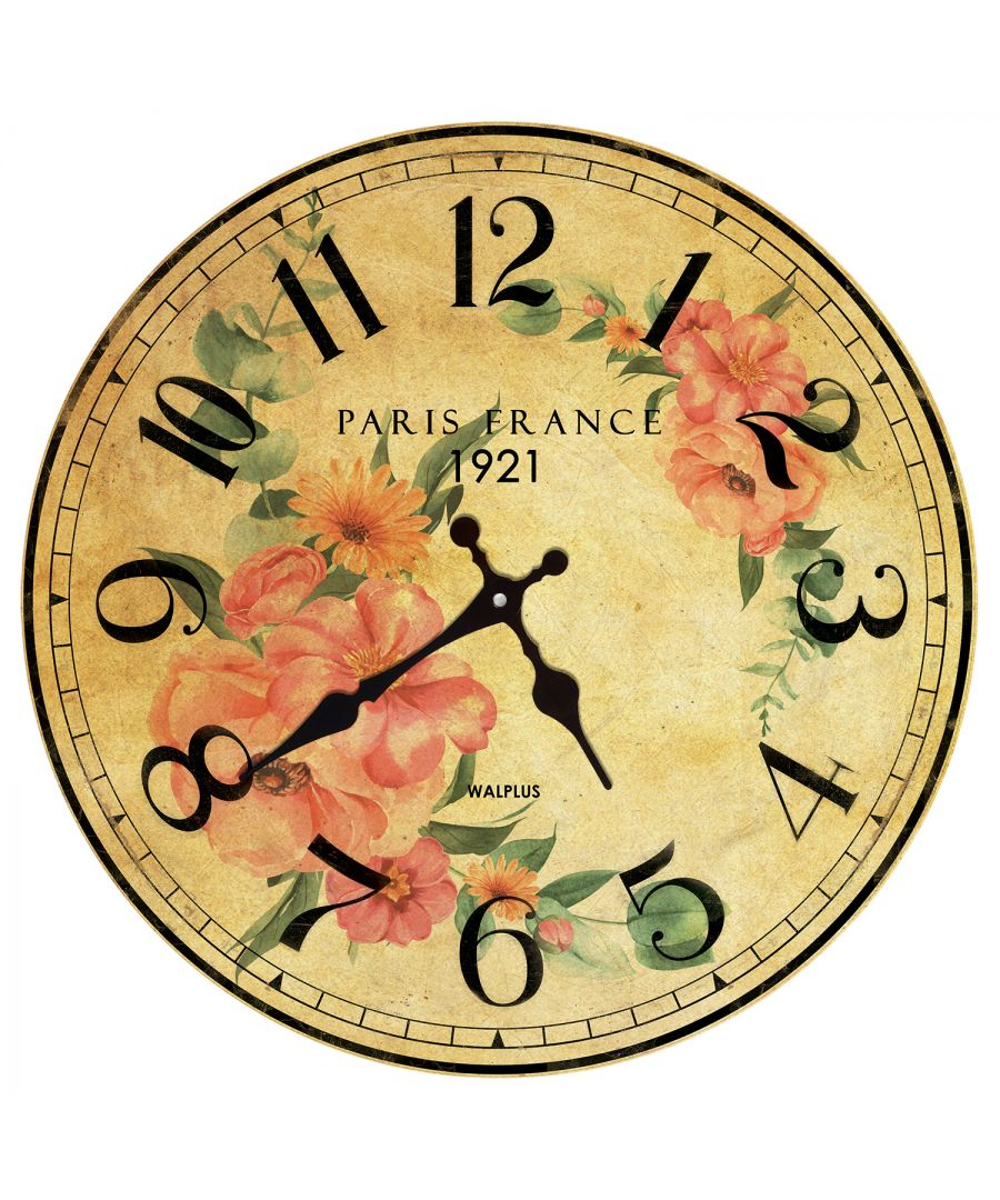 Image for Vintage Floral Paris Wall Clock, DIY Art, Kitchen Decorations, Bedroom, Home Design, House Décor, Floral Theme, Flowers