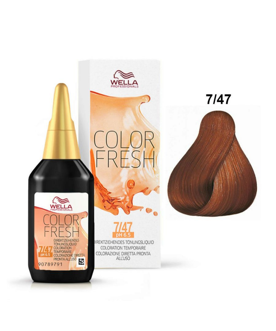 Image for Wella Color Fresh Toning - 7/47 Medium Blonde Red Brown 75ml