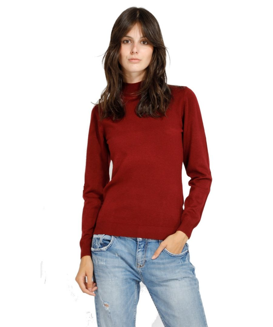 Image for William De Faye Funnel Neck Long Sleeve Sweater in Maroon