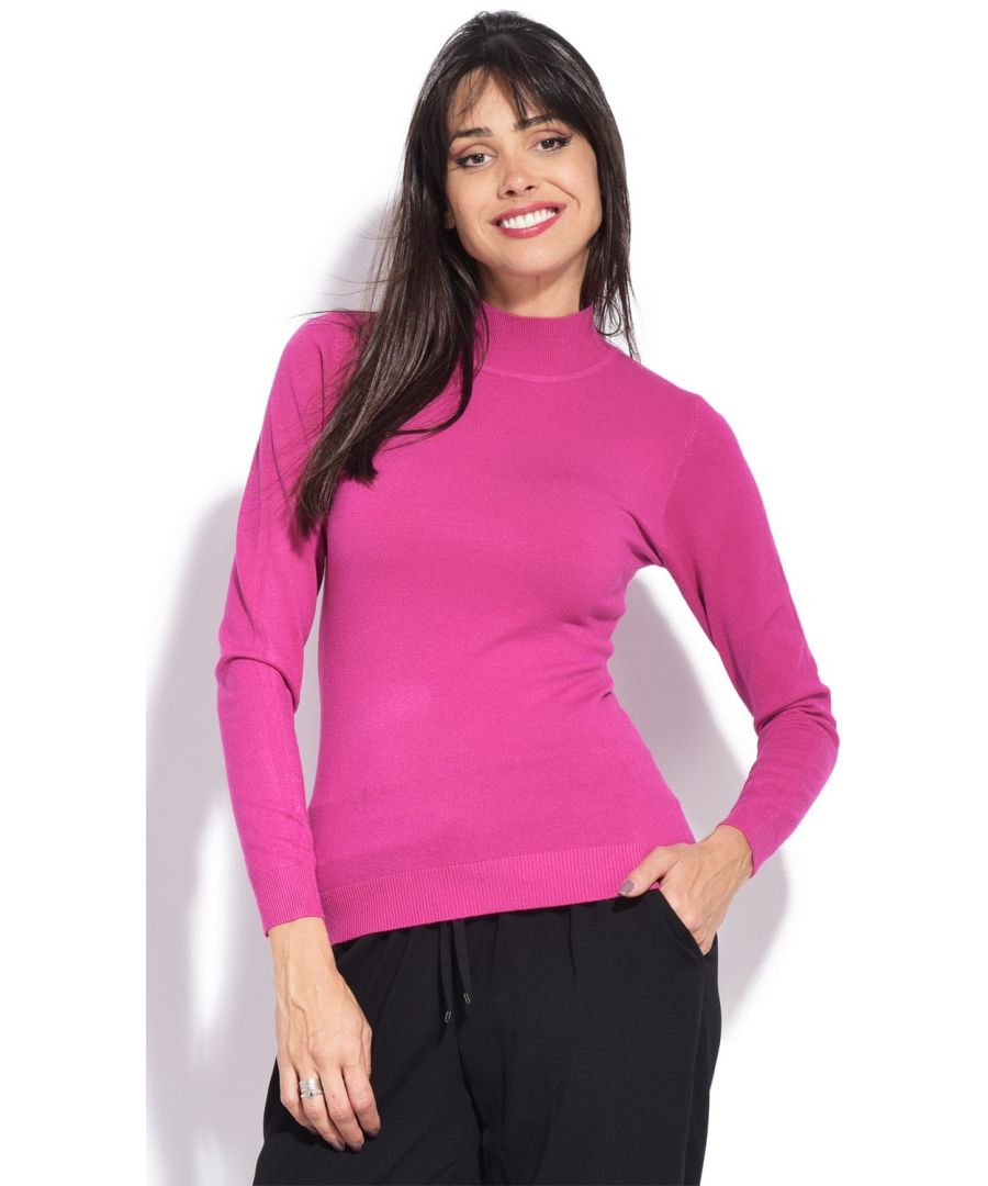 Image for William De Faye Funnel Neck Long Sleeve Sweater in Fuschia