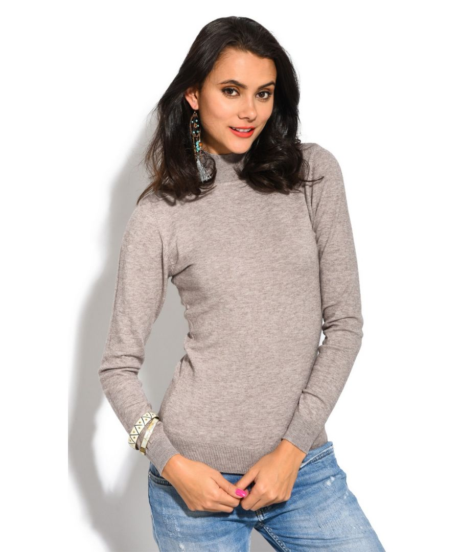 Image for William De Faye Funnel Neck Long Sleeve Sweater in Beige