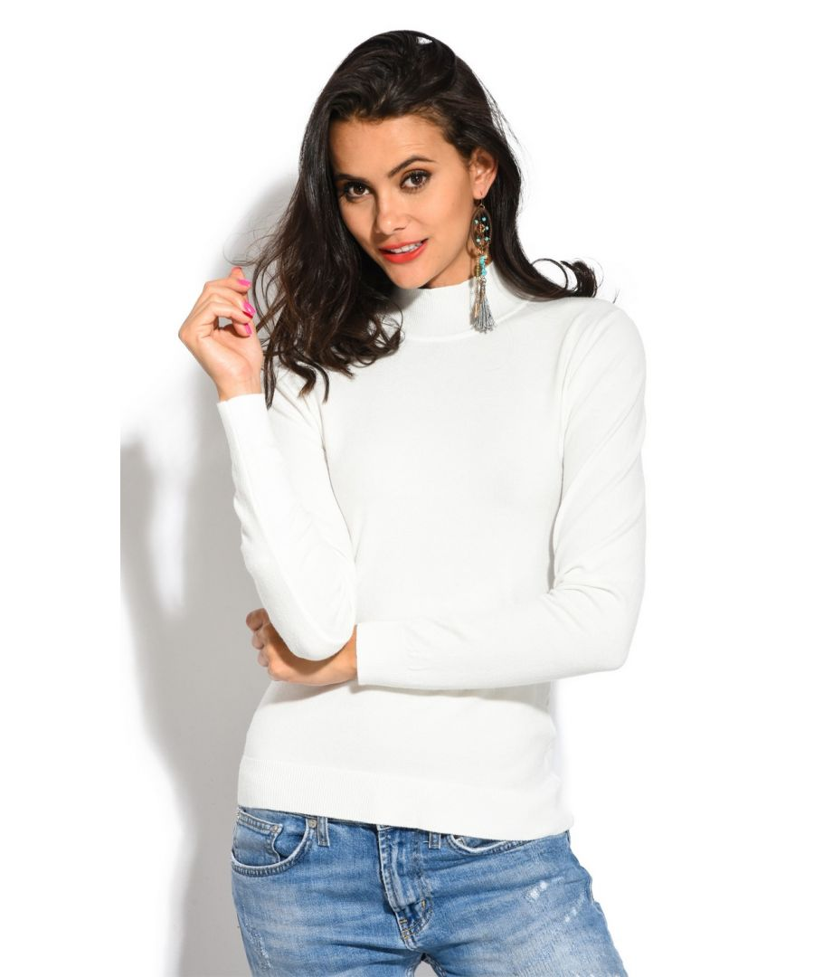 Image for William De Faye Funnel Neck Long Sleeve Sweater in Ecru