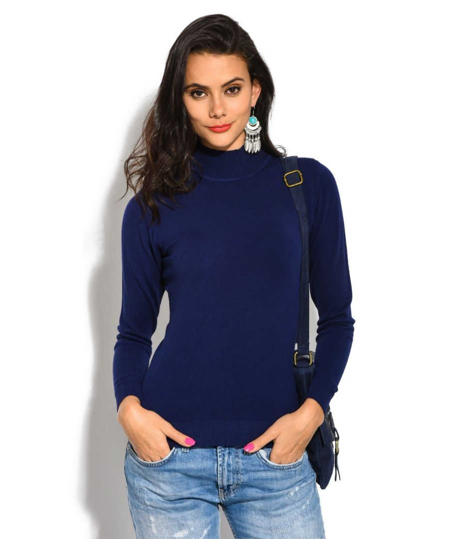 Image for William De Faye Funnel Neck Long Sleeve Sweater in Navy