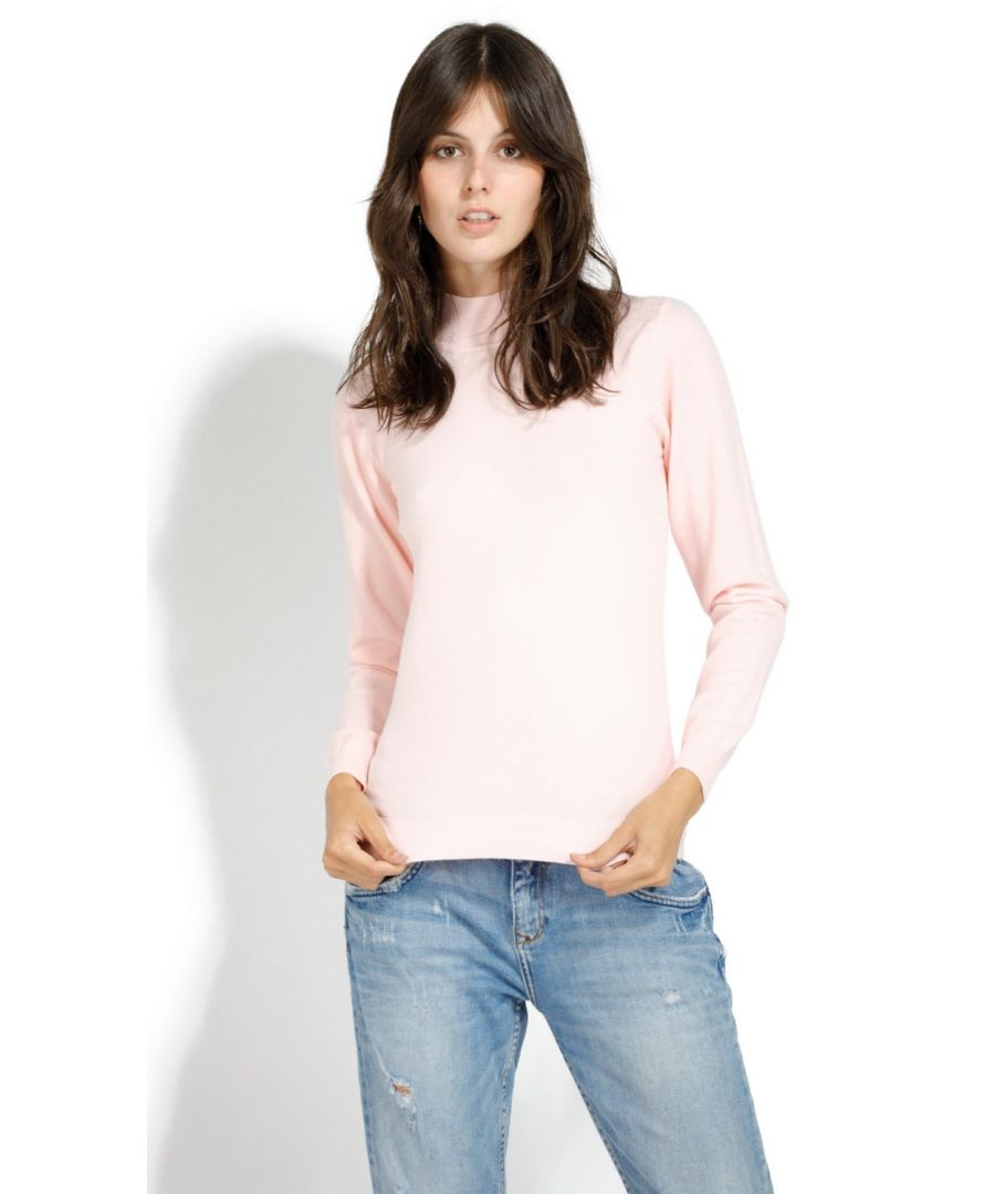 Image for William De Faye Funnel Neck Long Sleeve Sweater in Pink