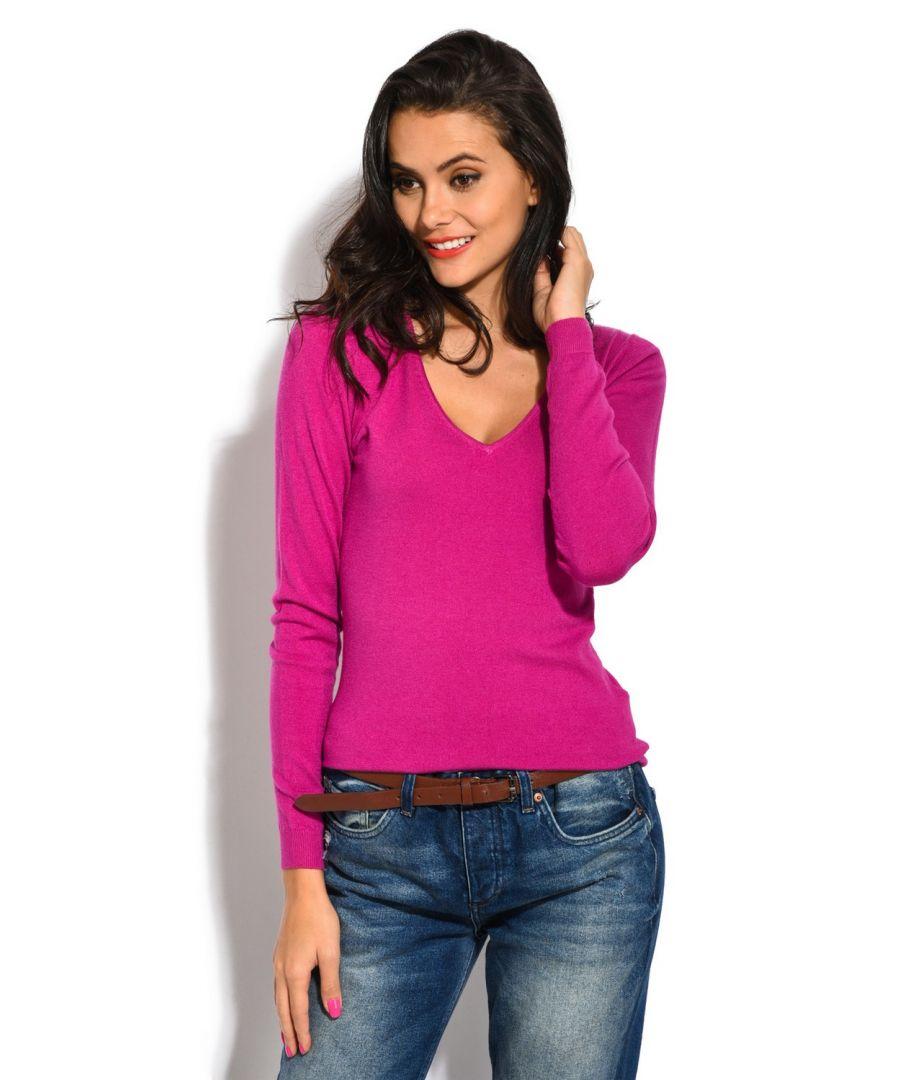 Image for William De Faye V-Neck Long Sleeve Sweater in Fuschia
