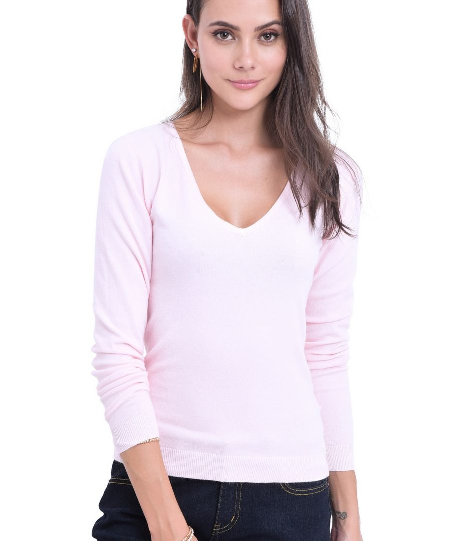 Image for William De Faye V-Neck Long Sleeve Sweater in Pink