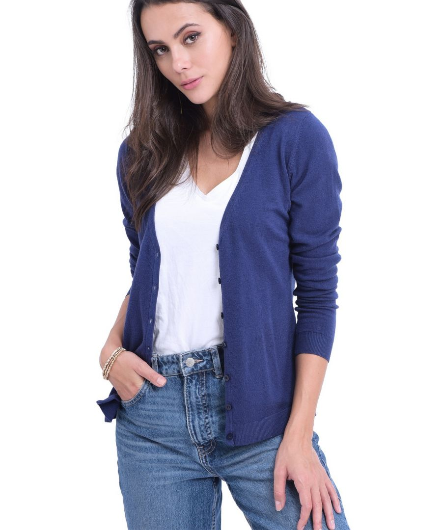 Image for William De Faye V-Neck Long Sleeve Buttoned Cardigan in Navy
