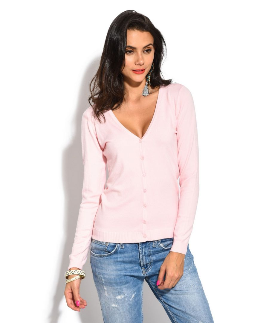 Image for William De Faye V-Neck Long Sleeve Buttoned Cardigan in Pink