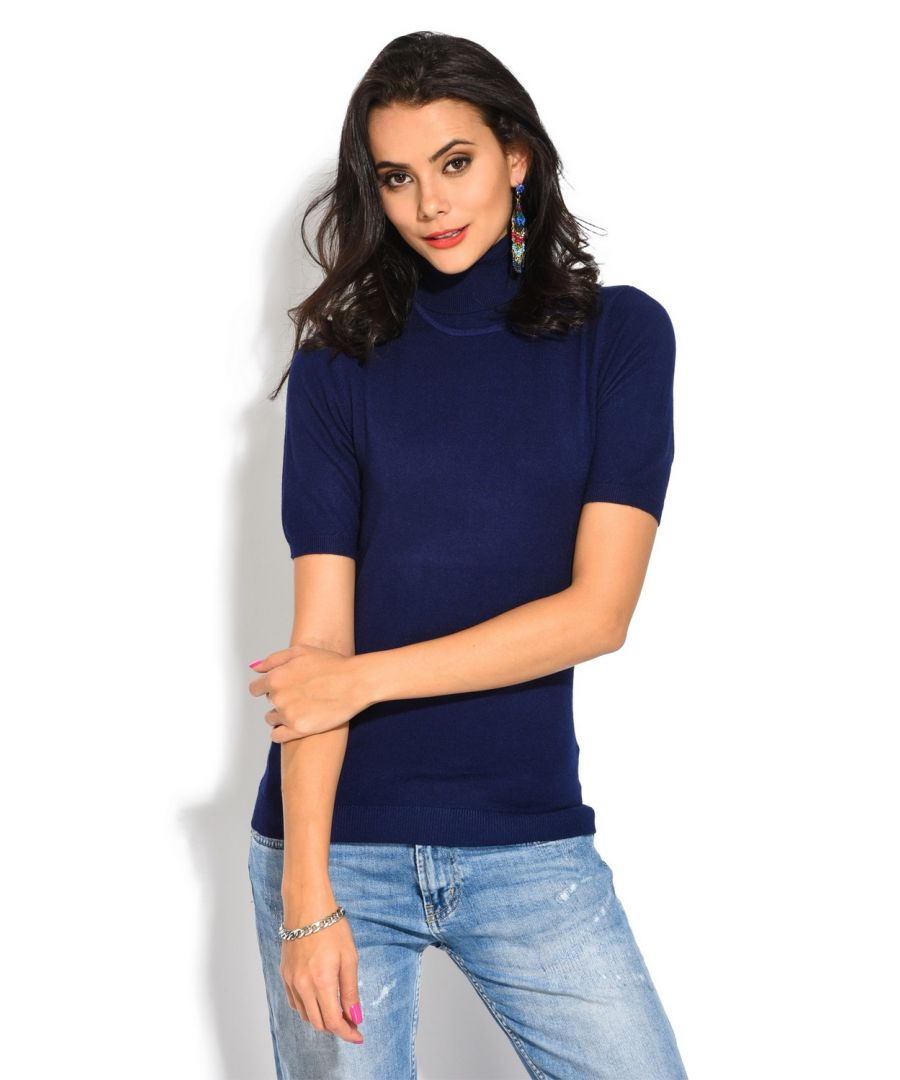 Image for William De Faye Roll Neck Short Sleeve Sweater in Navy