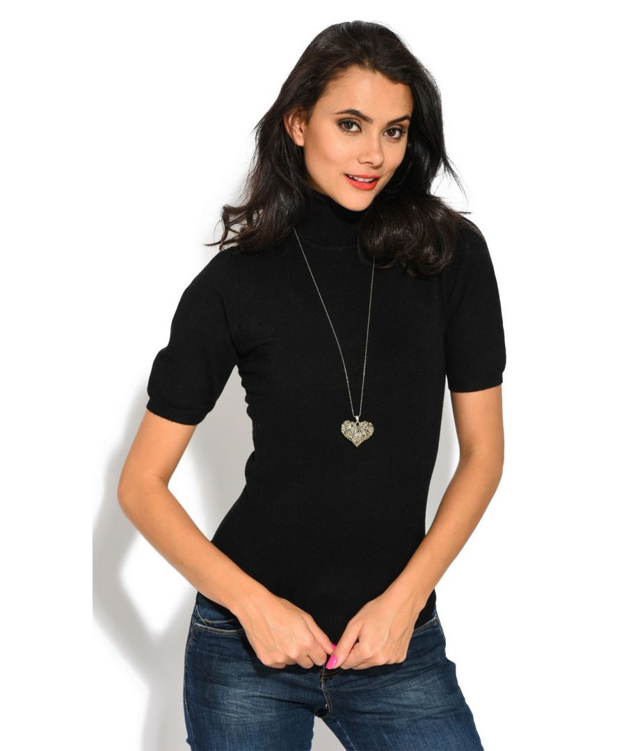 Image for William De Faye Roll Neck Short Sleeve Sweater in Black